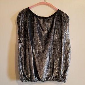 Tops - Vintage Sleeveless Sheer Metallic Blouse Size 40